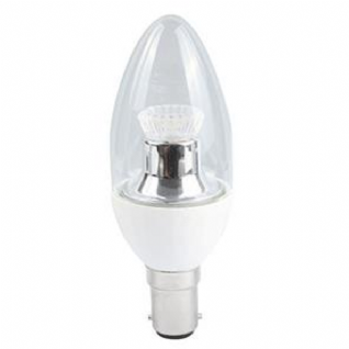 Dimmable LED Small Bayonet Cap SBC B15 LED C35 Clear Candle Lamp 2700K 250 Lumens